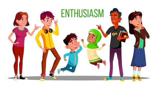 Entusiasti studenti multietnici, adulti, bambini