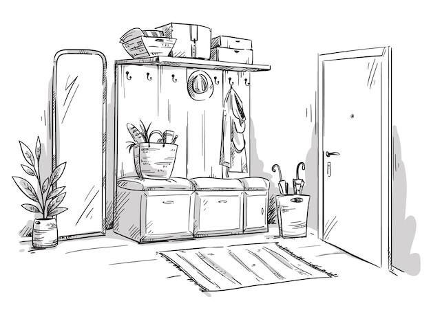 Ingresso di un appartamento, disegno vettoriale di interior design