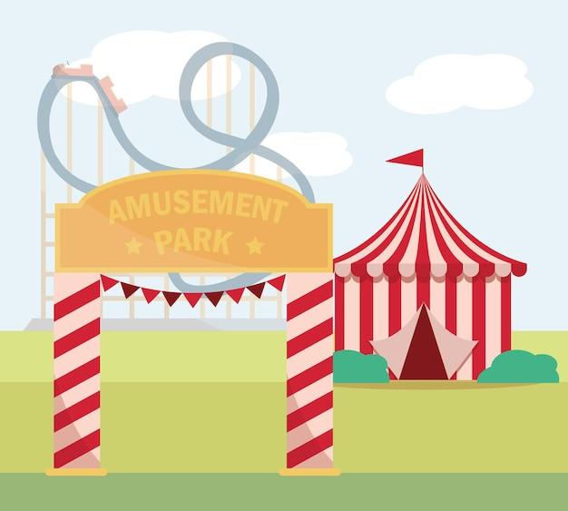 Illustrazione di design piatto di carnevale del parco di divertimenti della tenda dell'ingresso