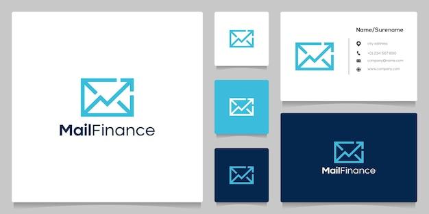 Design del logo della linea di consegna di denaro finanziario con freccia a busta con biglietto da visita