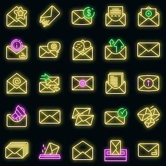 Set di icone della busta. contorno set di icone vettoriali busta colore neon su nero