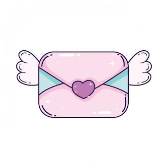 Busta con l'icona del cuore