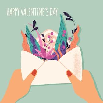 Busta con lettera d'amore. illustrazione disegnata a mano colorata con scritte a mano per happy valentines day. biglietto di auguri con fiori ed elementi decorativi.