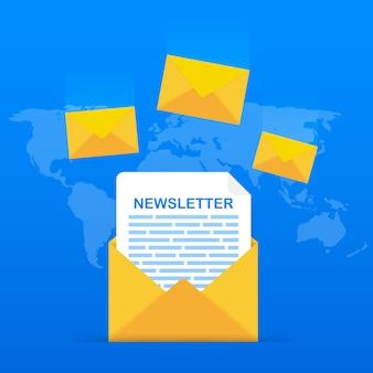 Busta con un concetto di newsletter. apri il messaggio con il documento. iscriviti al concetto di newsletter