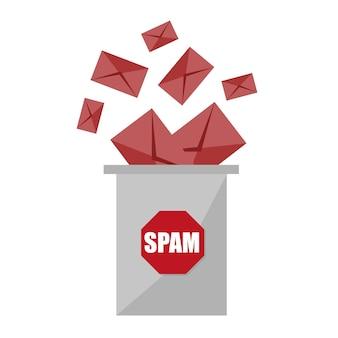 Buste e cestino dello spam - nessuna illustrazione vettoriale di spam. stop alla progettazione grafica dello spam - concetto creativo su sfondo bianco