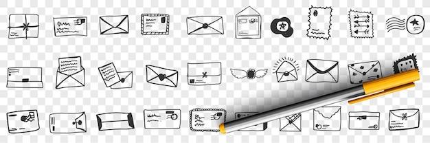 Buste con lettere doodle insieme illustrazione