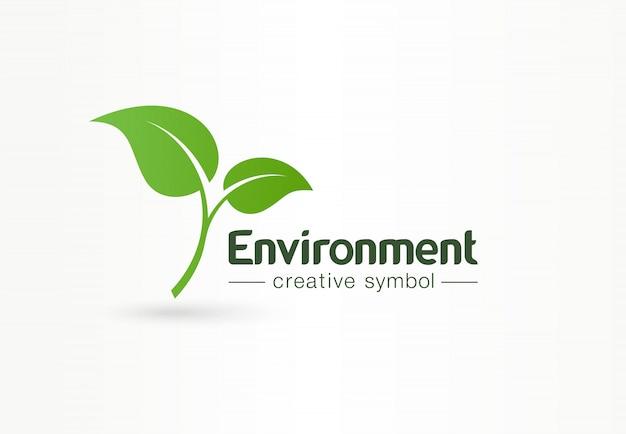 Ambiente, foglia verde, concetto di simbolo creativo organico. bio-cosmetici naturali, idea logo astratto business natura. icona di crescita pianta eco.