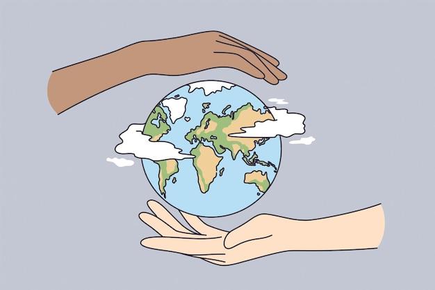 Risparmio dell'ambiente, viaggio, protezione del concetto di terra.