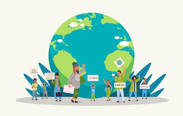 Attivisti ambientali in possesso di manifesti andare verde salvare il pianeta concetto mix gara manifestanti che fanno una campagna per proteggere la terra dimostrando contro il riscaldamento globale a piena lunghezza orizzontale