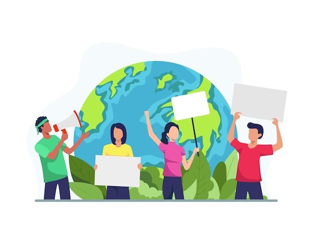 Illustrazione di attivisti ambientali. attivisti ambientali attirano l'attenzione sui cambiamenti climatici, dimostrazioni in scena. protestando eco-attivisti con poster sulla dimostrazione. in stile piatto