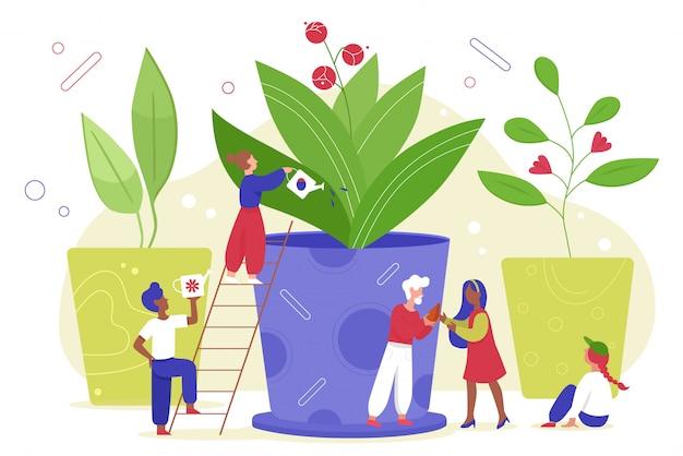 Agricoltura ambientale per salvare l'illustrazione di ecologia della terra, gente minuscola del giardiniere del fumetto che innaffia la pianta o il fiore naturale nella fattoria