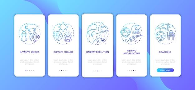 Danno ambientale schermata della pagina dell'app mobile di onboarding blu scuro con concetti