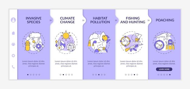 Illustrazioni isolate del modello di onboarding di danno ambientale