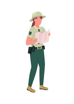 Carattere senza volto di colore piatto ufficiale femminile della polizia ambientale. ranger in uniforme con mappa. illustrazione del fumetto isolata donna delle forze dell'ordine per web design grafico e animazione