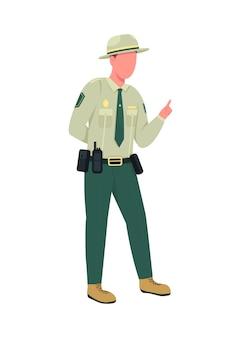 Carattere senza volto di colore piatto ufficiale della polizia ambientale. istruttore in divisa con badge. illustrazione del fumetto isolata uomo delle forze dell'ordine per web design grafico e animazione