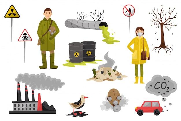 Problemi di inquinamento ambientale impostati, inquinamento di aria e acqua, deforestazione, segnali di avvertimento illustrazioni su uno sfondo bianco
