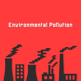 Inquinamento ambientale con sagoma di fabbrica. concetto di petrolio, scarico dell'ecosistema, sporco chimico, riscaldamento globale. isolato su sfondo rosso. illustrazione vettoriale di design moderno di tendenza in stile piatto