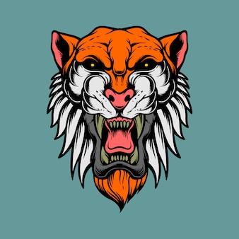 Epica testa di tigre Vettore Premium