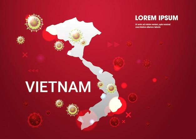 Diffusione di influenza epidemica di cellule del virus dell'influenza fluttuanti nel mondo wuhan coronavirus pandemia rischio sanitario medico vietnam mappa orizzontale