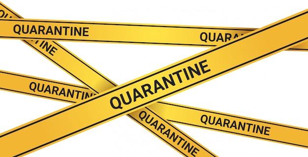 Epidemia mers-cov attenzione alla quarantena su nastro giallo di avviso infezione da coronavirus wuhan 2019-ncov concetto di rischio per la salute pandemia orizzontale