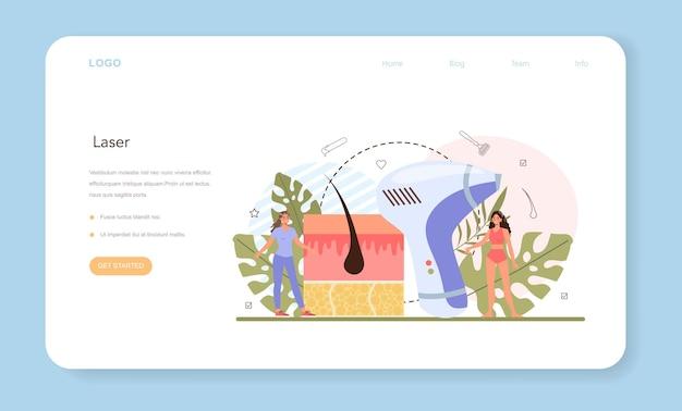 Banner web di epilazione o pagina di destinazione. metodo moderno di depilazione.