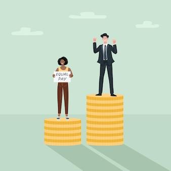 Pari concetto di divario retributivo, uomo d'affari e donna in piedi sulla pila di monete.
