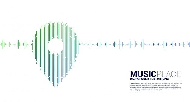Onda equalizzatore come icona posizione pin.concept sfondo per festival di musica e concerti.