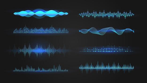 Set di onde equalizzatore, illustrazione vettoriale,