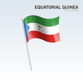 Bandiera della guinea equatoriale sventolante isolata su gray
