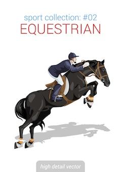 Il cavaliere a cavallo equestre guida l'illustrazione del cavallo.