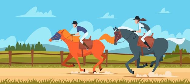 Sfondo di sport equestri. la gente cavalca le illustrazioni vettoriali all'aperto di cavalli da corsa in stile cartone animato. sport equestri, corsa di cavalli e fantini