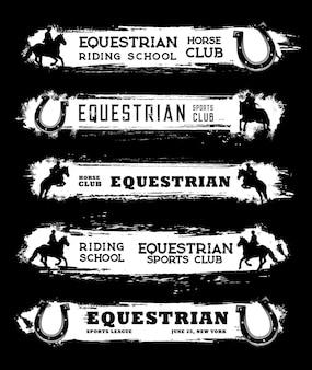 Striscioni del club di sport equestri, carte di equitazione