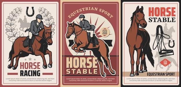 Sport equestri, equitazione e corsa su poster vintage vettoriali dell'ippodromo. cavalcata professionale, scuderia. equitazione sport grunge carte retrò con cavaliere, imbracatura e ferro di cavallo fortunato