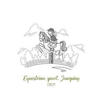 Concetto di salto di sport equestri