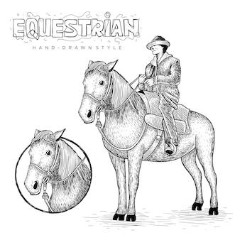 Vettore equestre con logo cerchio, illustrazione animale disegnata a mano