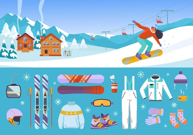 Set di attrezzature per sciatori e snowboarder
