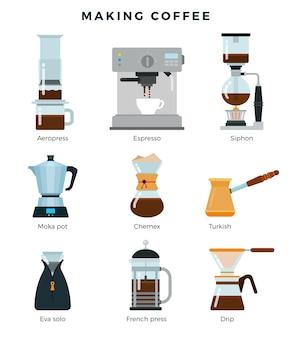 Attrezzature per vari modi di preparare il caffè