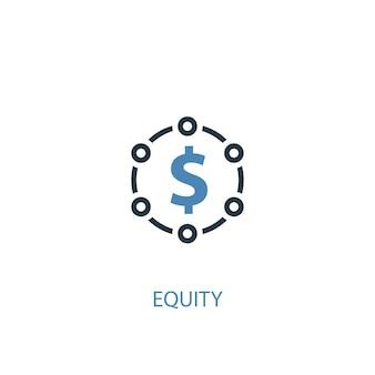 Concetto di equità 2 icona colorata. illustrazione semplice dell'elemento blu. design del simbolo del concetto di equità. può essere utilizzato per ui/ux mobile e web