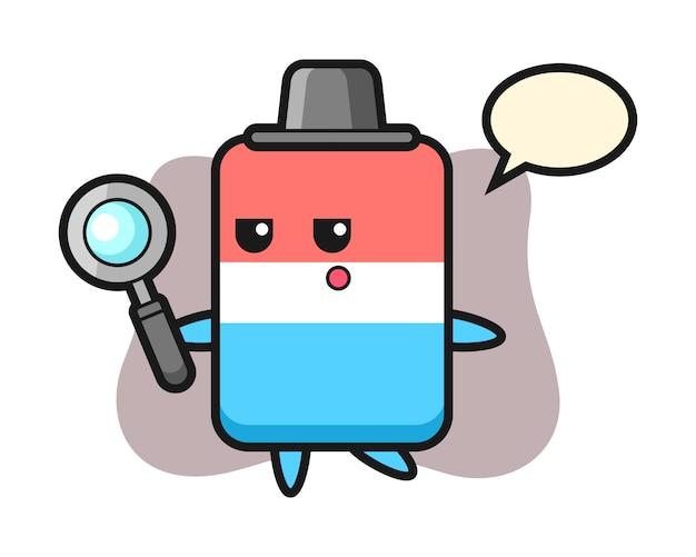 Personaggio dei cartoni animati di gomma alla ricerca con una lente di ingrandimento, stile carino, adesivo, elemento del logo