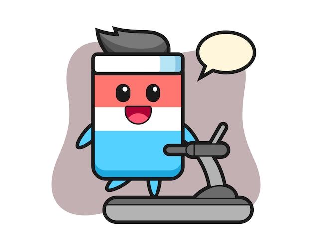 Personaggio dei cartoni animati di gomma che cammina sul tapis roulant, stile carino, adesivo, elemento del logo