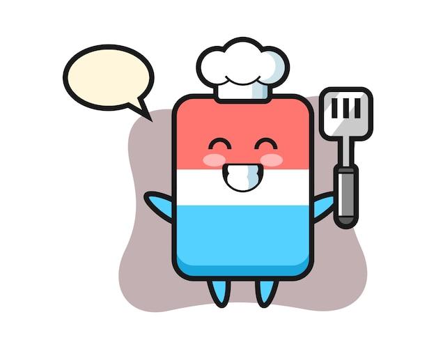 Il fumetto del carattere di gomma come chef sta cucinando, stile carino, adesivo, elemento del logo