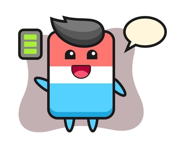 Personaggio mascotte gomma con gesto energico, stile carino, adesivo, elemento logo