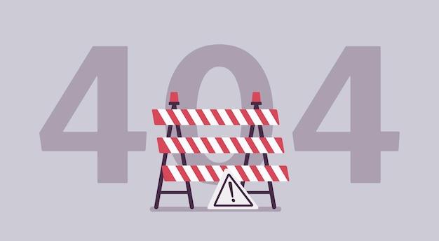 Errore 404, messaggio di pagina non trovato. segno in costruzione, codice di stato del computer che mostra i lavori del sito web incompiuti, il server non è riuscito a trovare le informazioni richieste per l'utente o il client. illustrazione vettoriale