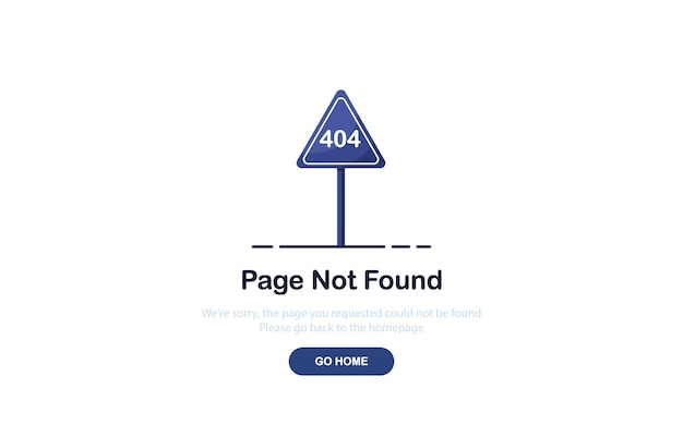 Pagina di destinazione errore 404 con cartello stradale in design piatto