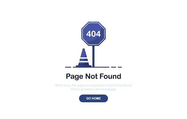 Pagina di destinazione errore 404 con segnale stradale in stile piatto