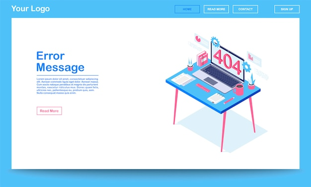 Modello di pagina di destinazione isometrica messaggio di errore.