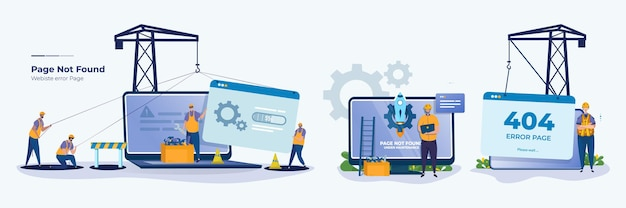 Sito web di errore sotto il concetto di set di illustrazioni per la manutenzione del tecnico