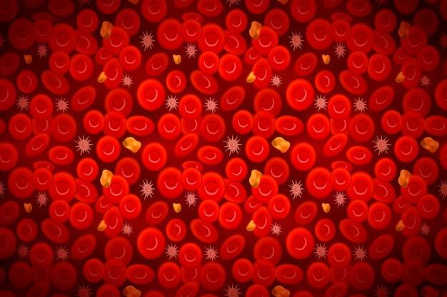 Eritrociti con globuli bianchi e colesterolo, composizione del sangue di fondo