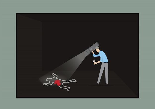 Escape room game concept. uomo con la torcia che studia la scena del crimine.