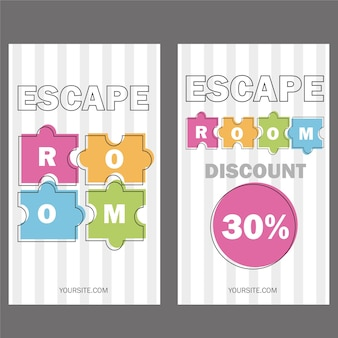 Stanza di fuga. poster di illustrazione vettoriale, banner su sfondo bianco puzzle pezzi colorati modelli di voucher o invito